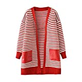 Challyhope Women Casual Striped Knitted Sweater Loose Pockets Cardigan Coat Jacket (Free, Red)