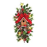 Collections Etc Cardinal Birdhouse Lighted Christmas Swag Door Decoration
