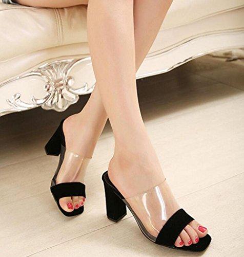 estilo europeo y americano de verano de la nueva manera salvaje gruesas zapatillas de tacón alto frescas con zapatos de tacones altos Black