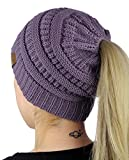 C.C BeanieTail Soft Stretch Cable Knit Messy High Bun Ponytail Beanie Hat Reviews