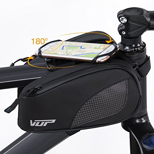 VUP Bike Front Frame Bag, Universal Bicycle Motorcycle Handlebar Bag, Top Tube Bike Bag with 360° Rotation Cell Phone Holder for iPhone Xs/XS MAX/XR/X/8/8P/7/7P/6S/6/5, Galaxy S9/8/7/6/Note, Nubia,LG