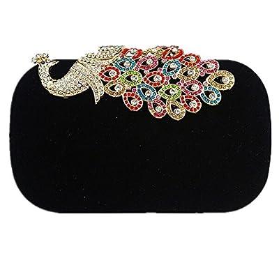 BMC Womens Elegant Rhinestone Peacock Clasp Velvet Cocktail Evening Handbag
