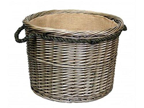 Extra Large Antique Wash Round Rope Handled Log Wicker Basket