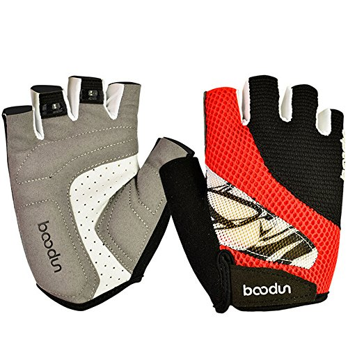 Ezyoutdoor Unisex Half Finger Lycra Silica Gel Grip Cycling Gloves for Mountain Road Bicycle Racing Crossfit Sport Fitness Exercise (Red, X-Large)