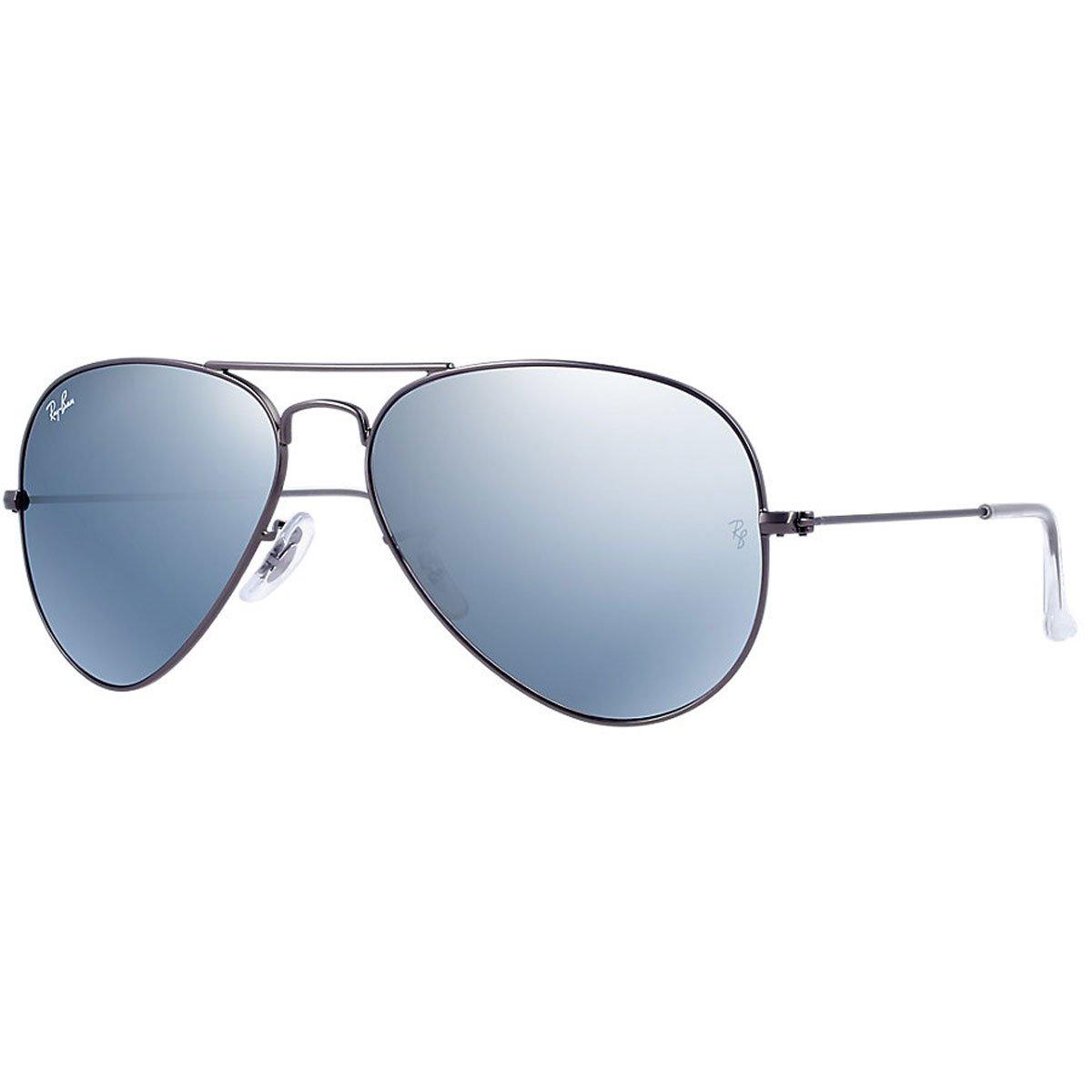 Ray-Ban 3025 Aviator Large Metal Mirrored Non-Polarized Sunglasses, Gunmetal/Silver Flash (029/30), 58 mm by Ray-Ban (Image #1)
