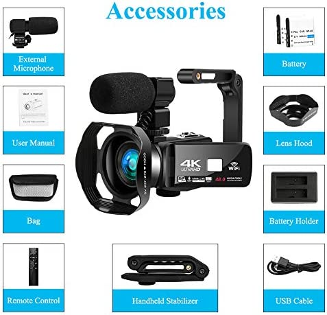 "Video Camera 4K HD 48MP 18X Digital Zoom for YouTube Video Camera 3.0"" HD Touch Screen IR Night Vision Camcorder with Foldable Handheld Stabilizer, 360° Wireless Remote Control, Hood and Microphone"