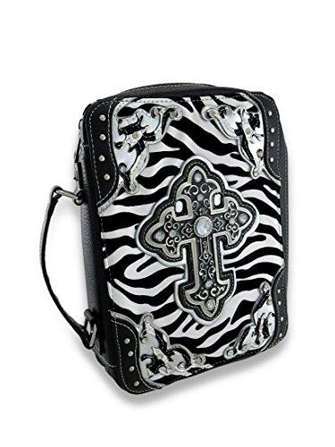 Embossed Cross Fuzzy Zebra Bible Cover w/Mock Croc Trim and Rhinestones