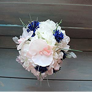 Round Bridesmaids Bouquet in Blush Pink orchids with white Hydrangeas and blue cornflowers. 26