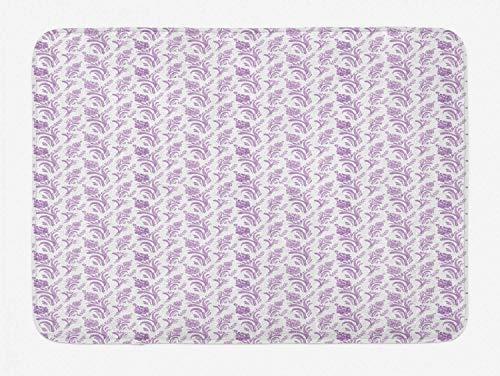 (Flower Bathtub Mat, Artistic Watercolor Paint with Ukrainian Delicate Floral Folk Motif Print, Bathroom Shower Mat Machine Washable Non Slip Backing, 23.6 W X 15.7 L Inches, multicolor)