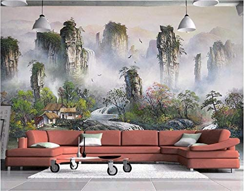 山笑の美 カスタム壁画3D壁紙中国の風景誰か他の部屋の家の装飾絵画3D壁壁画壁紙壁3D-150X130cm