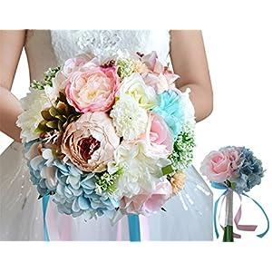 MOJUN Set of 2 Wedding Bouquets Artificial Rose Peony Hydrangea Bride Bridemaisde Hold Flowers 79
