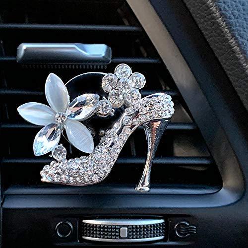 Bling Car Decor High Heel Shoe Car Air Vent Clip Charm, Bling Car Accessories for Women, Crystal Shoe w/Flowers Car Vent…