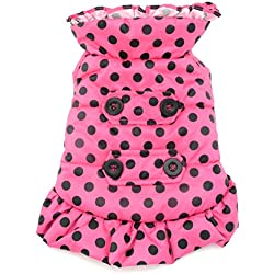 SMALLLEE_LUCKY_STORE Petmall Dog Cat Warm Fleece Lined Hooded Trench Coat Girl Polka Dot, Medium, Pink
