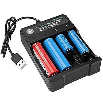 Amazon.com: Cargador de batería inteligente USB de 4 bahías ...