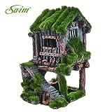 Saim Resin Ancient House with Moss Aquarium Decorations Fish Tank Landscape Ornament