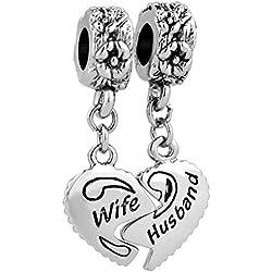 LovelyJewelry Wife & Husband Charms Love Family Celtic Knot Sale Cheap Dangle Jewelry Fit Pandora Bracelets Valentine's Day Gifts Idea