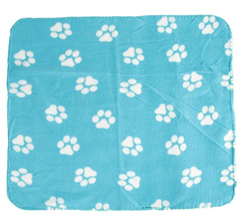 VWH Pet Dog Cat Puppy Kitten Soft Blanket Doggy Warm Bed Mat Paw Print Cushion Blue Dog Blue Paw Prints