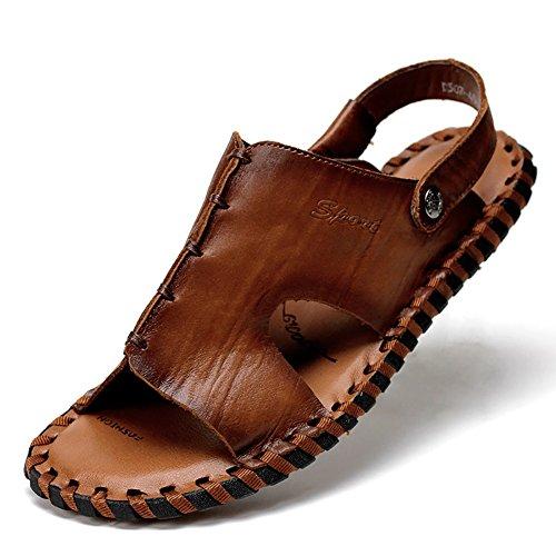 uomo morbida pantofola pescatore open in vera dimensioni pelle toe di Cachi pelle spiaggia estiva Cachi antiscivolo da 41 vintage sandalo in Colore Sandali 7IzwEq6
