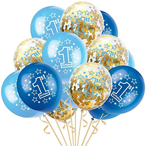 First Birthday Balloons Decorations Kit, 12 inch Pack of 15 | Gold Confetti 1st Balloons, Blue Sky Blue 1st Balloons with Shiny Silvery Swirl Ribbon, for Baby Boy Girl 1st Birthday Party Decor