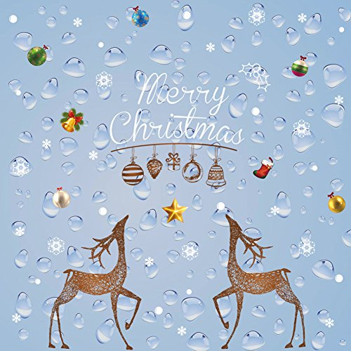 Christmas Window Clings Decal Wall Stickers,Xmas Decorations Hanging Merry Christmas Deer Mural for Home Shop Glass Windows Sticker Coverings Wall Decor New Year Celebration Presents,Brown White Christmas Decor Shop