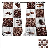 familytaste Patterned Drape Glass Door Coffee Roasted Beans Concept Collage Hearts Stars Espresso