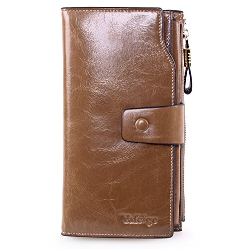 Yafeige Women's Large Capacity Oil wax cowhide Leather Purse Genuine Leather Wallet With Zipper Pocket (Apricot)