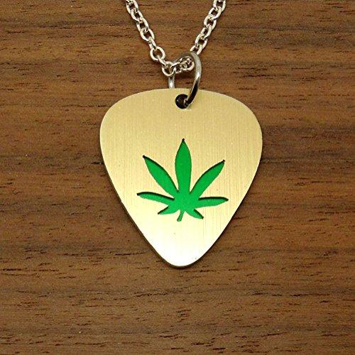 Gold Tone Marijuana or Hemp Leaf Necklace or Key Ring Guitar Pick Chain and Key Ring Included FBA - Green Ganga Leaf