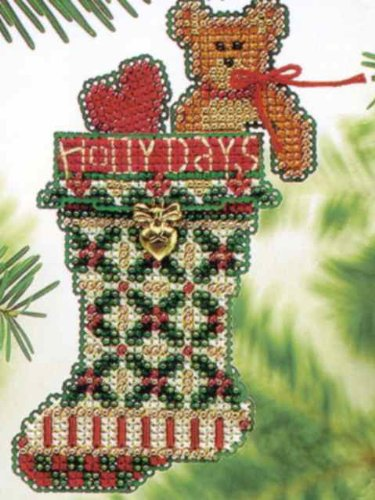 Holly Days Stocking Counted Cross Stitch Beaded Ornament Kit Mill Hill 2004 Charmed Stockings MHCS47