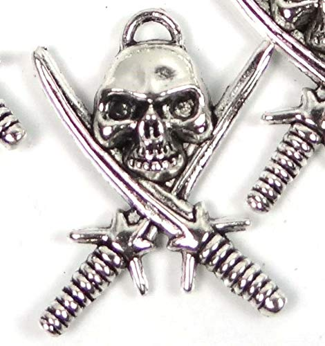 5 Silver Pewter Pirate Skull with Crossed Swords Charm Pendant 35mm ~Lead-Freee