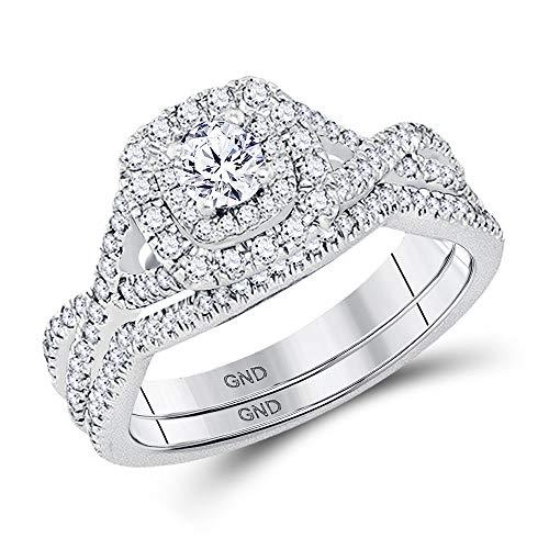 14k White Gold Diamond Twist Engagement Ring + Wedding Band Bridal Set 3/4 ct (Certified)
