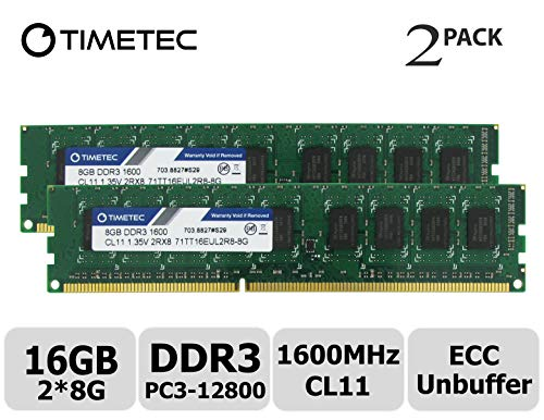 Timetec Hynix IC 16GB Kit(2x8GB) DDR3L 1600MHz PC3-12800 Unbuffered ECC 1.35V CL11 2Rx8 Dual Rank 240 Pin UDIMM Server Memory Ram Module Upgrade (16GB Kit(2x8GB))