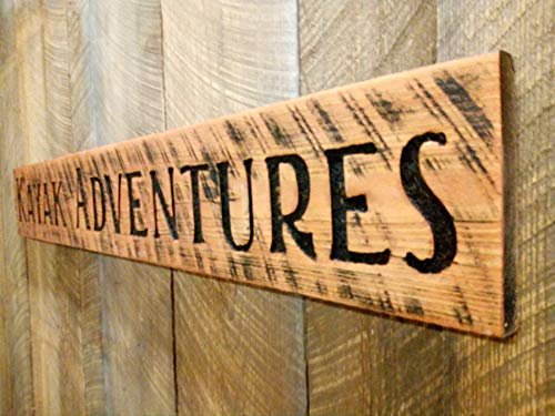 """Large Carved KAYAK ADVENTURES Sign 55""""x8"""" Horizontal-Wood Lumber Rustic Distressed Outfitters Gift Made in USA"""