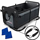 Car Trunk Organizer by FORTEM | Heavy Duty Collapsible Cargo Storage For SUV Truck & Auto | Straps and Non-Slip Bottom Strips to Prevent Sliding | 100% Waterproof Bottom | Bonus Micro Fiber Towels