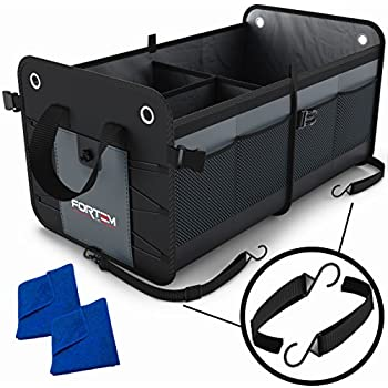Amazon car trunk organizer by starlingseco friendly premium car trunk organizer by fortem heavy duty collapsible cargo storage for suv truck auto straps and non slip bottom strips to prevent sliding 100 fandeluxe Images