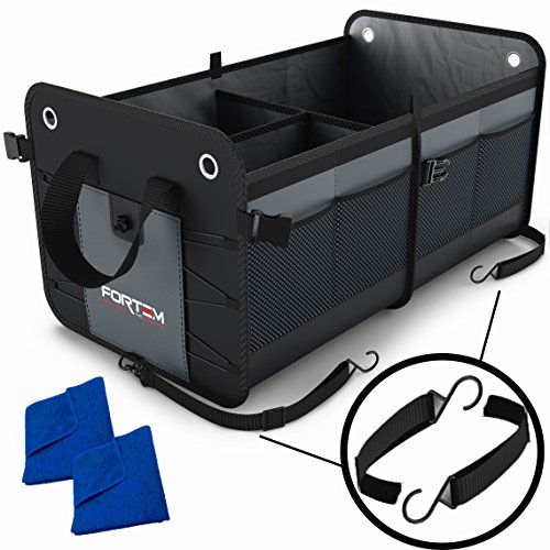 Car Trunk Organizer by FORTEM | Heavy Duty Collapsible Cargo Storage For SUV Truck & Auto | Straps and Non-Slip Bottom Strips to Prevent Sliding | 100% Waterproof Bottom | (Truck Storage Bins)