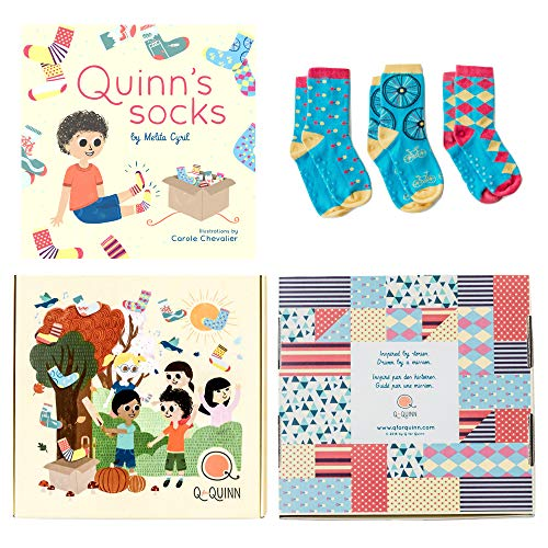 Perfect Gift for Baby, Toddler or Kid (2, 3, 4 year old). Quinn's Socks - Book and Matching Organic Cotton Kids Socks (Blair's Mix, 2-4 Years)