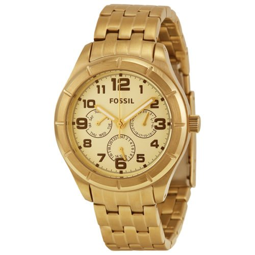 Fossil Gold Dial Gold-tone Stainless Steel Unisex Watch BQ1409