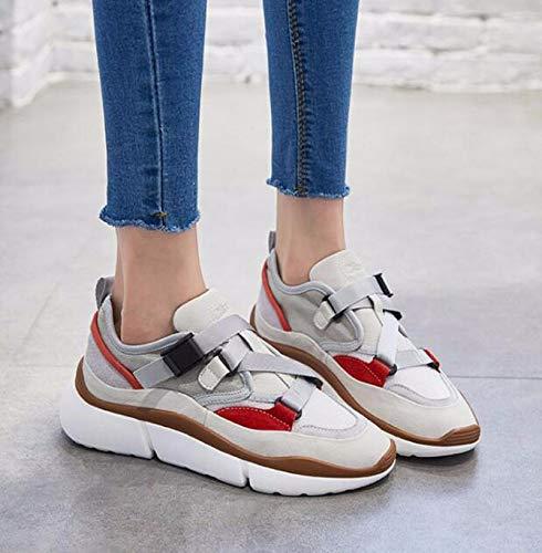 KOKQSX-Zapatillas de Deporte Correr de Fondo Grueso Grueso Grueso Casual Zapatos para Correr Transpirable y Ligero. Treinta y Ocho Gris 9371a2