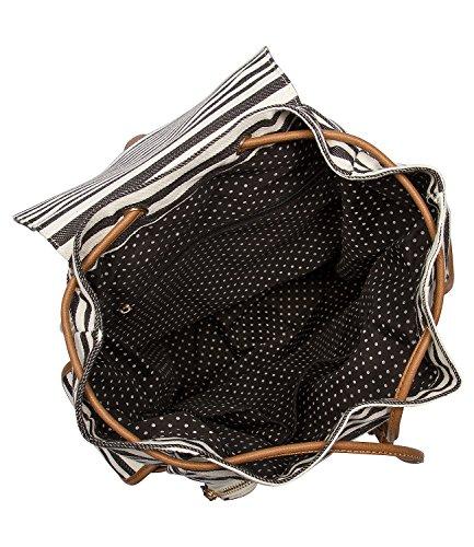 SIX Marine großer Canvas Rucksack, Handtasche, Beutel, schwarz weiß gestreift mit braunen Leder Details, 3 Außentaschen, Herz Anhänger (463-795)