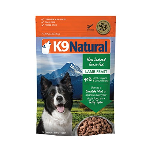 K9 Natural Freeze Dried Dog Food Or Topper By Perfect Grain Free, Healthy, Hypoallergenic Limited Ingredients Booster For All Dog Types - Raw, Freeze Dried Mixer - Lamb 17.6oz Pack