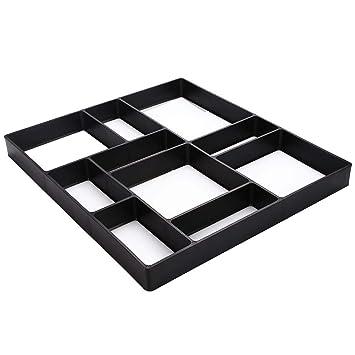 CAIDUD 39.5 * 45 * 4 cm Plástico Jardín DIY Pavimento Molde Modelos rectangulares de hormigón con 10 moldes de Rejilla: Amazon.es: Jardín