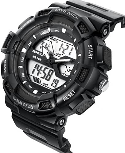 DualTime Digital Analog Water Resistant Outdoor Sport Chronograph Wrist Watch for Kids Boys Black