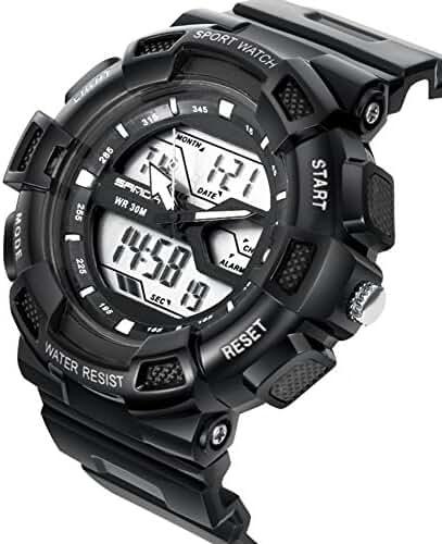 DualTime Digital Analog Water Resistant Outdoor Sport Chronograph Wrist Watch for Kids Boys Black