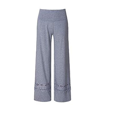Aiweijia Pantalones de Yoga Mujer Pantalones de Cintura Baja Pantalones de Encaje con Medias Pantalón bengalas Patchwork Bloomers Pantalones de Baile: Ropa y accesorios