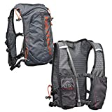 Nathan TrailMix Running Vest/Hydration Pack. 7L (7 Liters) for Men and Women | 2L Bladder Included (2 liters). Zipper, Phone Holder, Water (Charcoal/Steel Grey/Cherry Tomato, One Size Fits Most)