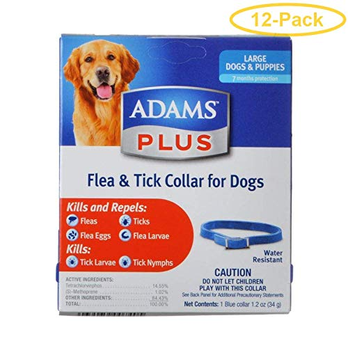 Adams Plus Flea & Tick Collar for Dogs Large Dogs - Pack of 12