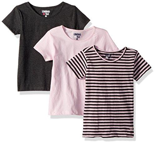 Limited Too Girls' Big 3 T-Shirt, Pack Stipes Light Pink/Grey Multi Print, ()