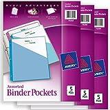 "Avery Binder Pockets, Assorted Colors, 8.5"" x 11"", Acid-Free, Durable, 15 Total Slash Jackets, 3 Packs (75254)"