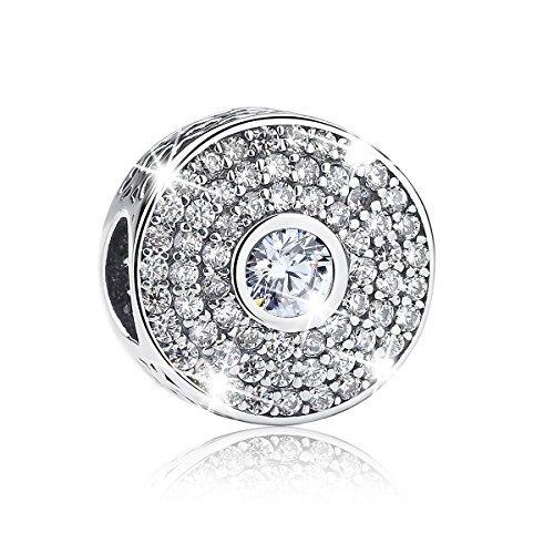 Clip Snake (BAMOER Chirstmas Gift Charm 925 Sterling Silver Charm Radiant Clip CZ Bead for Snake Chain Bracelet)
