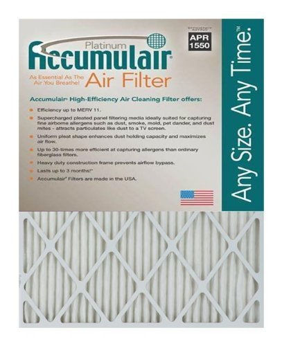 "Accumulair Platinum MERV 11 Air Filter/Furnace Filters, 12"" L x 22"" W (Actual Size), 6 Piece"